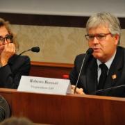 Un momento della conferenza stampa, con Rosalba Giugni (presidente Marevivo) e Roberto Bennati (Vicepresidente LAV)