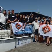 LAV, Marevivo e Jonian Dolphin Conservation oggi al momento della partenza in catamarano per avvistare i delfini
