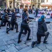 Flash Mob Firenze contro Legge Caccia Cinghiali