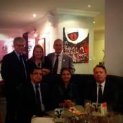 A cena per il compleanno del Mercoledì Veg nella giornata della non-violenza, con il Vice Ambasciatore dell'India Shri Ravi Shankar, sua moglie, e Giuseppe Bonollo, direttore Marketing Ntv