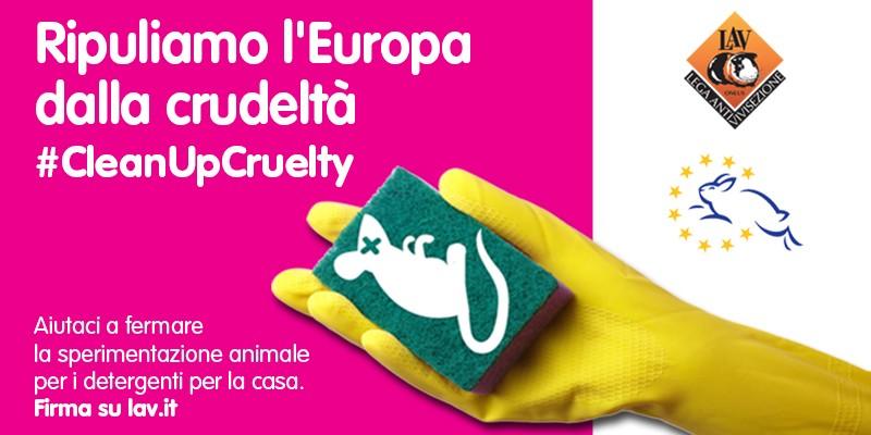 Ripuliamo l'Europa dalla crudeltà. Stop ai test su animali per i detersivi