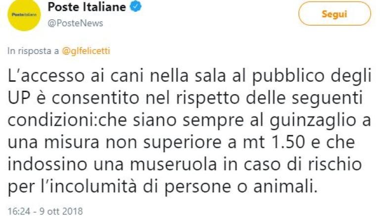 """""""Si ai cani negli uffici postali"""". """"Ma Poste lo dica chiaramente"""""""