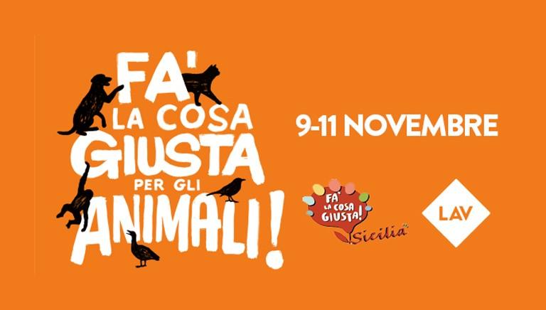 Fa' la cosa giusta...per gli animali in Sicilia! Il 9, 10 e 11 novembre ti aspettiamo a Palermo