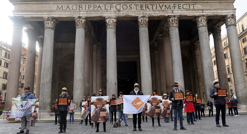 Roma, il video del nostro flash mob al Pantheon per salvare i macachi