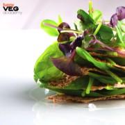 Insalatina di spinacini e cialde di semi, chef Simone Salvini