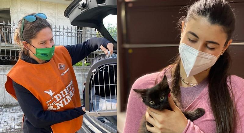 La gattina Joy con una nostra volontaria di LAV Taranto