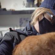 Una nostra volontaria con Tigre, uno dei due gatti di Sergio
