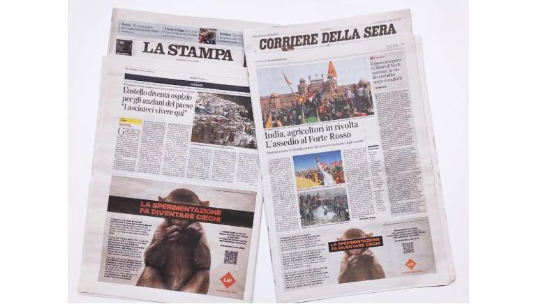 La sperimentazione fa diventare ciechi: campagna LAV su Corriere e La Stampa