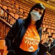 La Senatrice Evangelista con la T-Shirt #EmergenzaVisoni