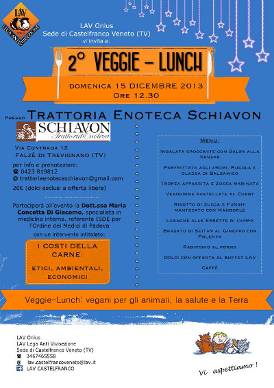 """2° Veggie Lunch presso Trattoria Enoteca """"Da Schiavon"""" a Falzè di Trevignano (TV)"""