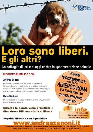 """Conferenza sulla vivisezione""""Loro sono liberi e gli altri?"""" 19 dicembre 2013 a Castelfranco Veneto."""
