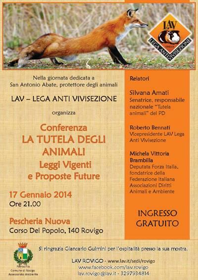 Conferenza LA TUTELA DEGLI ANIMALI - Leggi Vigenti e Proposte Future