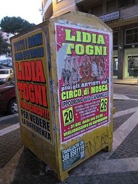 LAV Roma contro le affissioni abusive della circense Lidia Togni