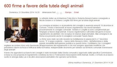 Consegna firme a favore della tutela degli animali