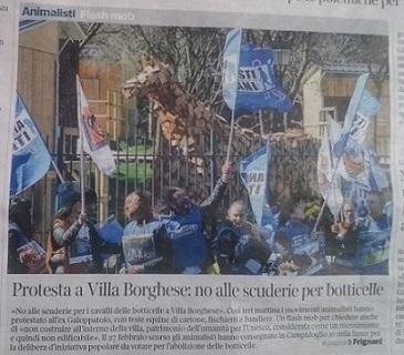 LAV Roma a Villa Borghese: no alle nuove stalle, abolire le botticelle!