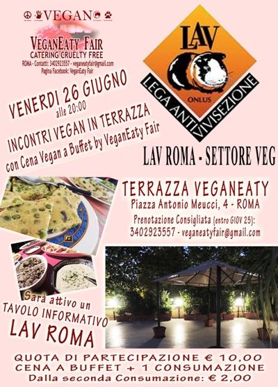 """Incontro informativo+cena vegan del 26 giugno alle ore 20.00 presso la """"Terrazza VeganEaty"""""""