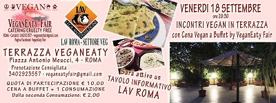 Cena a buffet per la chiusura della stagione estiva sulla Terrazza VeganEaty venerdì 18 settembre ore 20.30