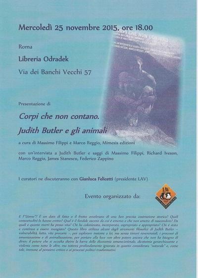 """Presentazione del libro """"Corpi che non contano. Judith Butler e gli animali"""" il 25 novembre alle ore 18"""