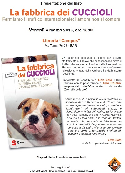"""Presentazione libro """"La fabbrica dei cuccioli"""""""