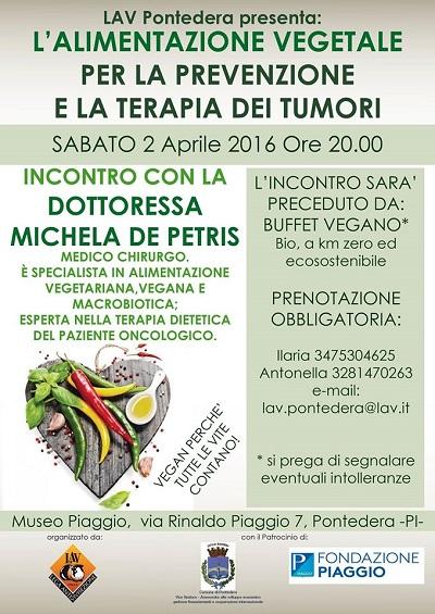 L'ALIMENTAZIONE VEGETALE PER LA PREVENZIONE E LA CURA DEI TUMORI - Incontro con la Dott.ssa MICHELA DE PETRIS