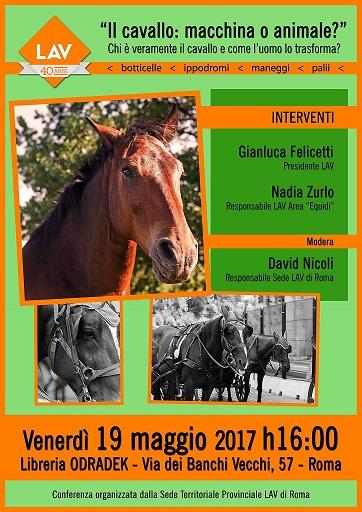 """Conferenza LAV Roma """"Il cavallo: macchina o animale?"""" il 19 maggio alle ore 16 presso libreria Odradek"""