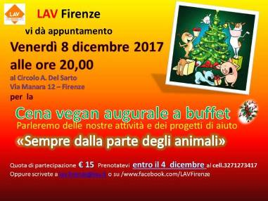 Appuntamento con Lav Firenze, per CENA AUGURALE VEGANA A BUFFET