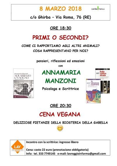 EVENTO DI GIOVEDI' 8 MARZO 2018 dalle ore 18.30 presso Biosteria della Gabella - Reggio Emilia
