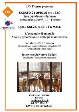 """""""QUEL SALVARE CHE FA MALE"""" :L'accumulo degli animali, analisi, prevenzione e strategie di intervento. Seminario con Ciro Troiano"""