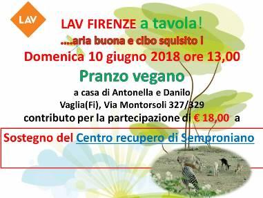 LAV Firenze A TAVOLA per sostenere il Centro di recupero di Semproniano