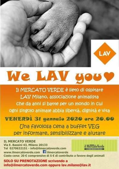 We LAV you! Cena vegan a buffet domani al Mercato Verde di  Milano